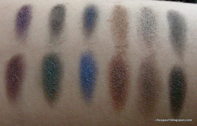 Comparison swatches of (top row) Urban Decay Dangerous Palette: Gravity, Loaded, Evidence, Deeper, Mushroom, Ace and (bottom row) MUA Smokin Palette