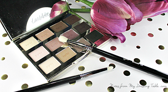 tarte tartelette amazonian clay matte eye shadow palette shadows and brushes notes from my dressing table