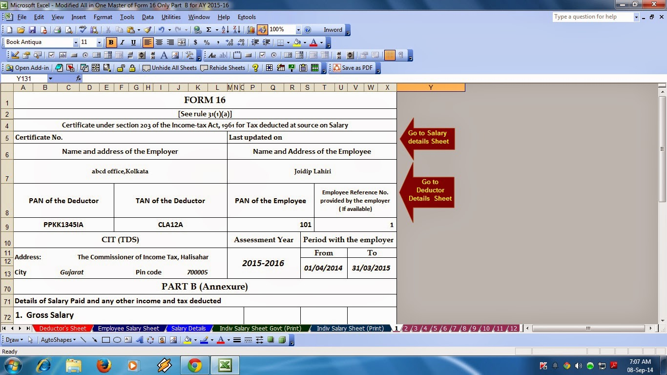itaxsoftware net click here to the all in one master of form 16 part b prepare at a time 50 employees individual salary sheet individual salary structure form