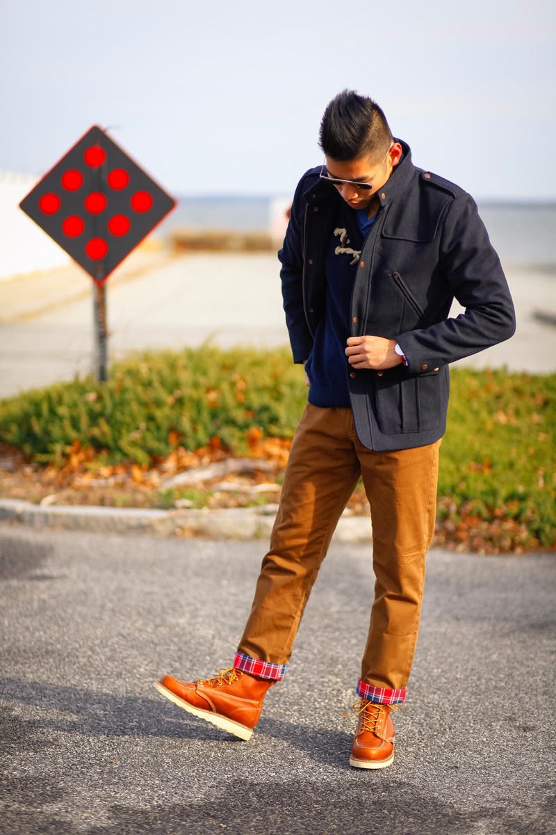 Menswear Style Fashion Daniel Wellington Watch, Flannel lined Chino, Thorogood Moc Toe Boots