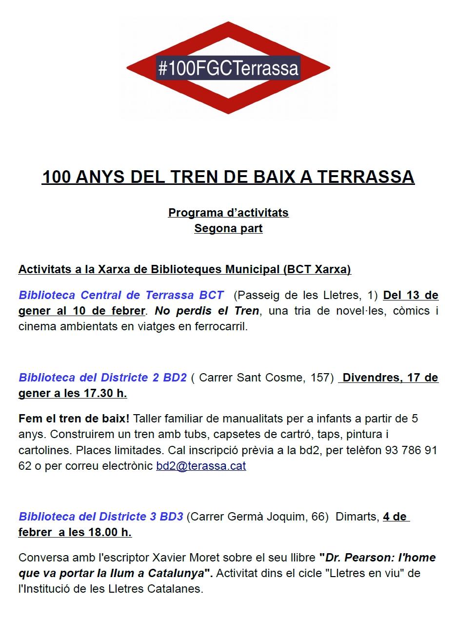 """100 Anys del """"Tren de Baix"""" a Terrassa. Programa Part 2A"""