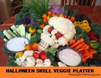 Veggie Halloween Skull Platter