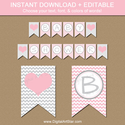 pink chevron editable baby shower banner template
