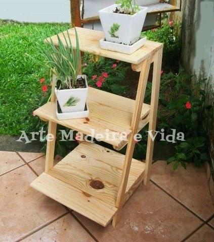 suporte madeira para vasinhos