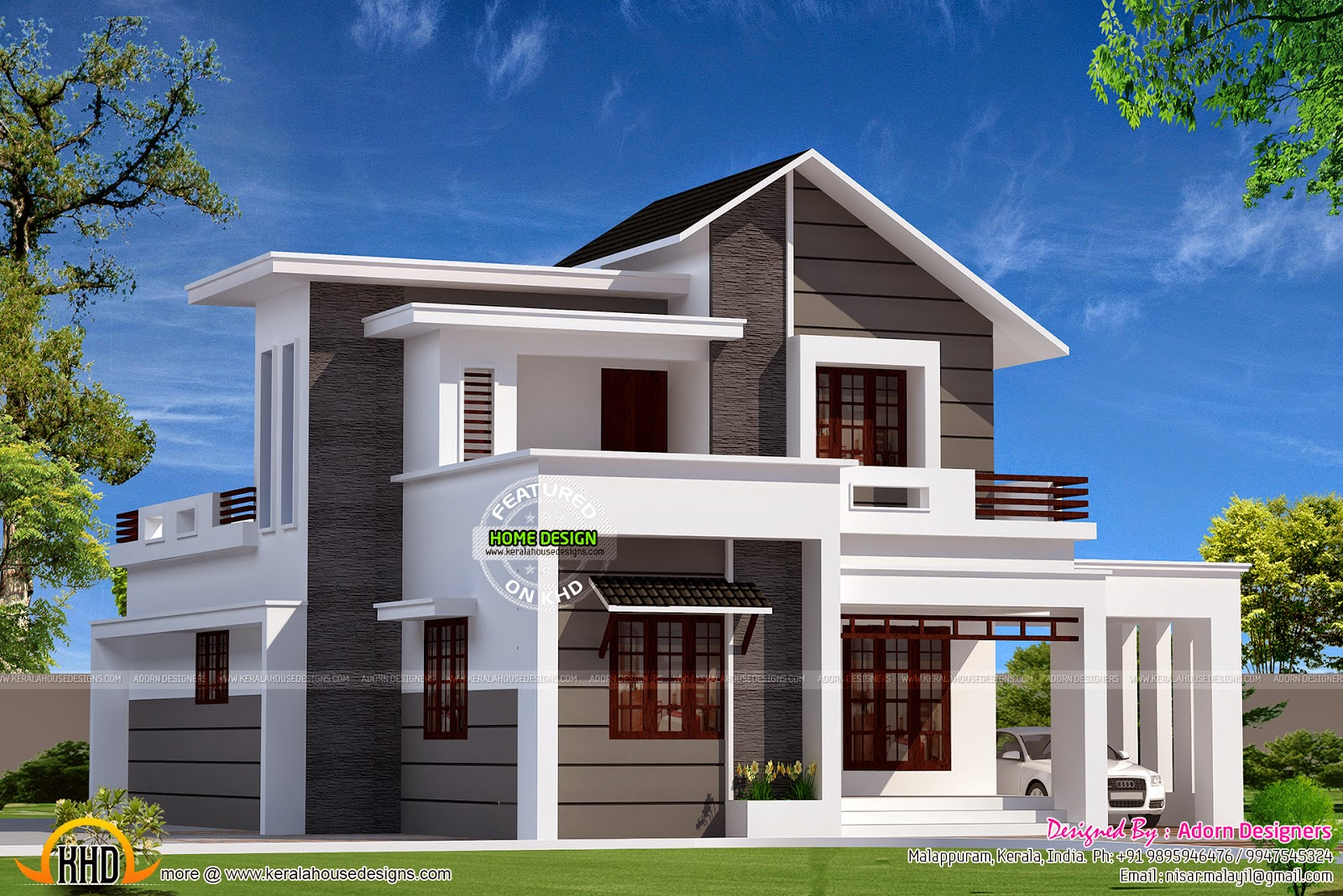 Modern mix small double storied house kerala home design for Modern house plans 1500 square feet