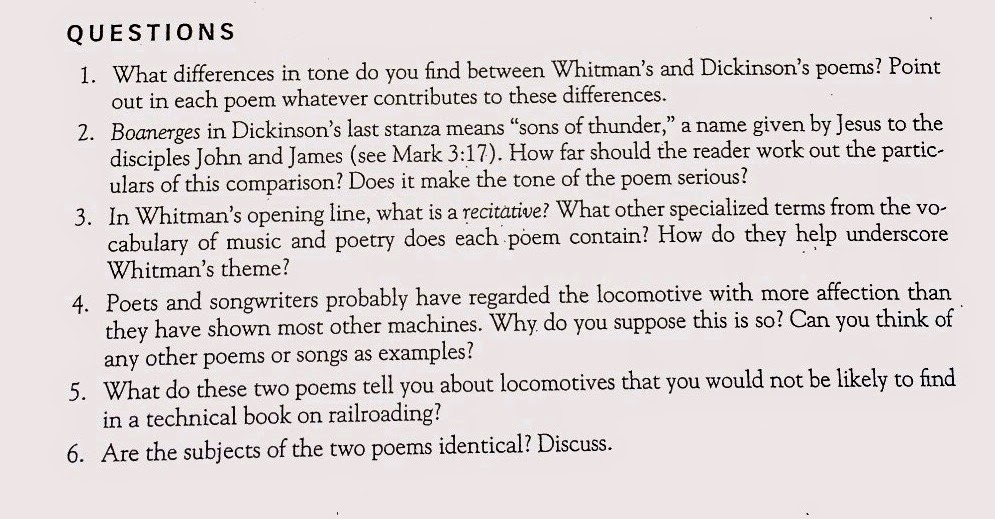 whitman vs dickenson on locomotives Free essay: whitman vs dickinson death termination of vital existence passing away of the physical state dying comes along with a pool of emotions that.