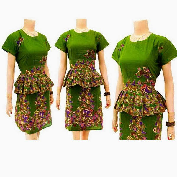 DB3716 Mode Baju Dress Batik Modern Terbaru 2014