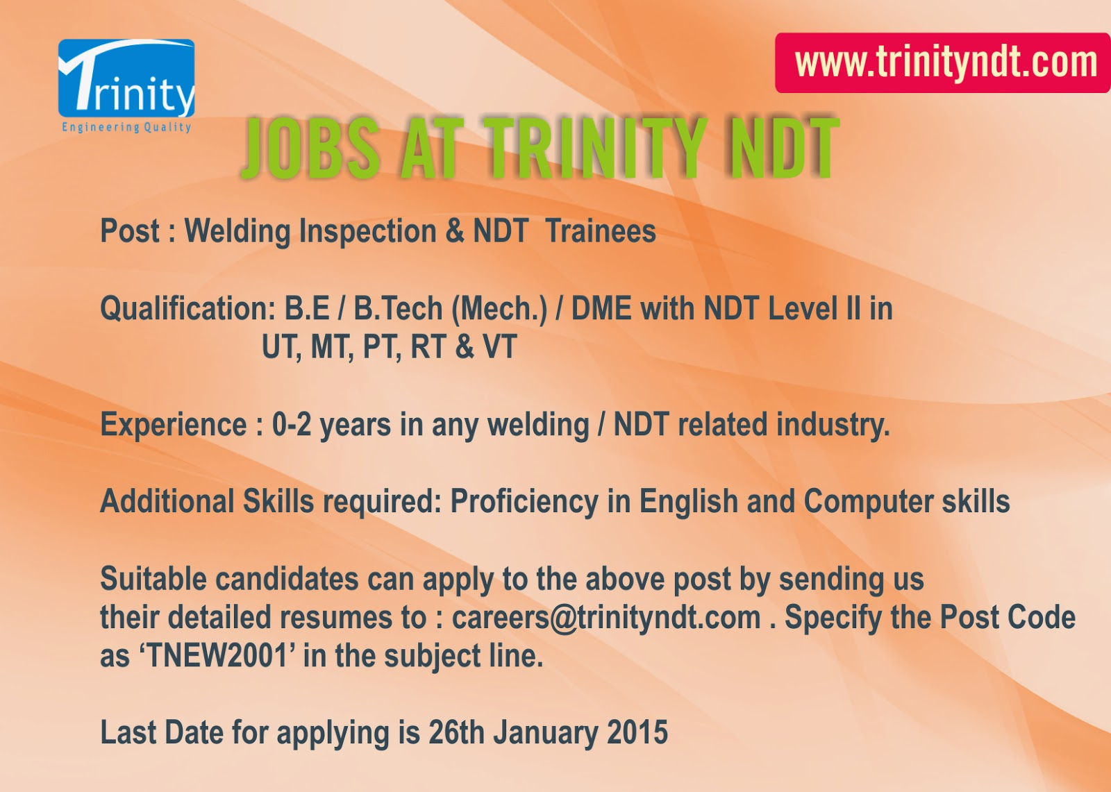 welding inspector ndt trainee at ndt