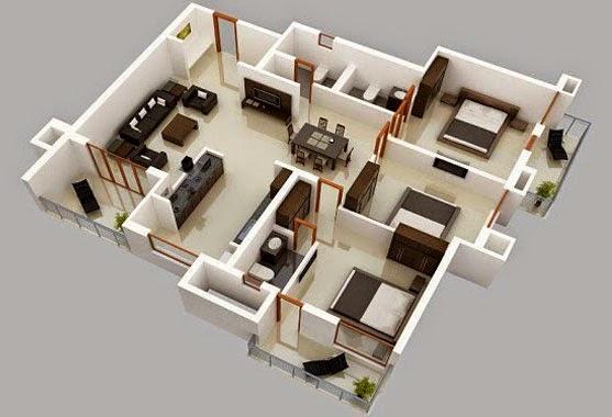 Denah Bentuk Rumah Minimalis Sederhana 3 Kamar Tidur