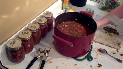 homemade salsa, canning, pressure canning, jars, simmer on stove, tomato, cilantro, onion,