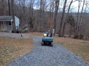 Tim driving the golf cart!