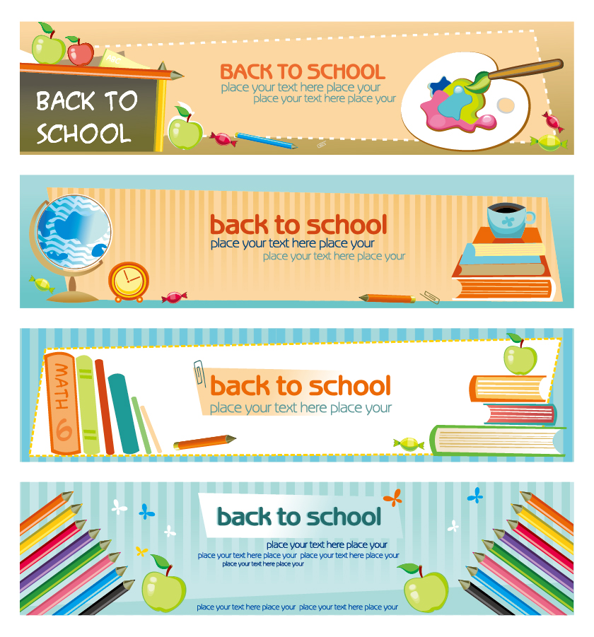 学校を題材にした文房具のバナー education theme banner design template イラスト素材