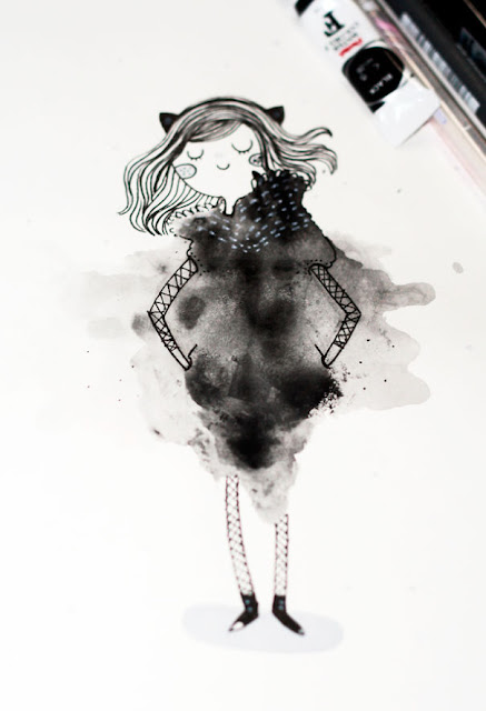 blots of watercolor girl illustration