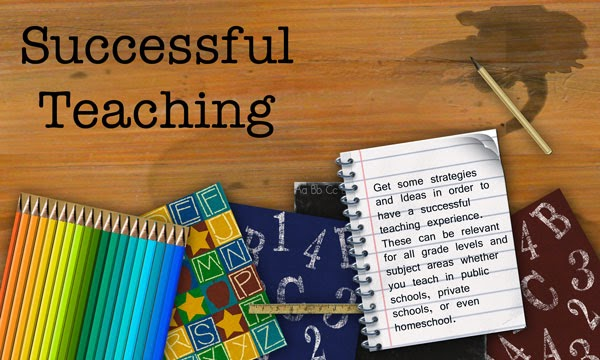 "Reads"" Successful Teaching"" with picture of pencilas, a notebook, numbers, and letters."