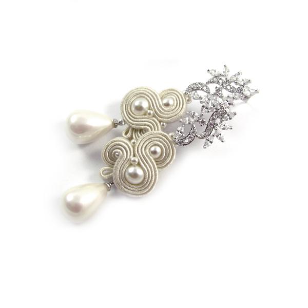 Długie kolczyki ślubne sutasz ivory z perłami