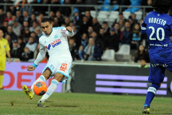 Marseille player Dimitri Payet shoots to score his side's second goal against Bastia