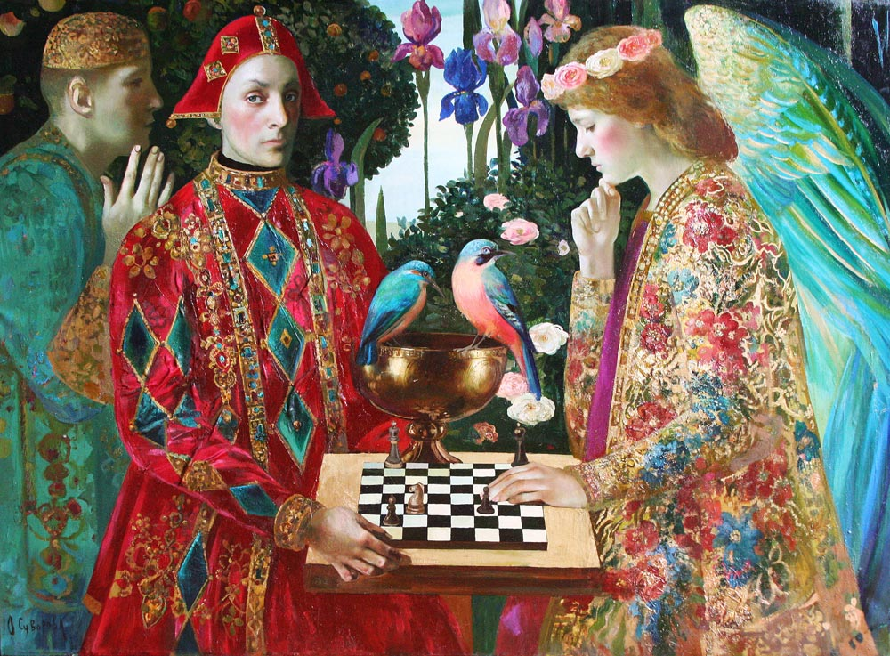 Chess-Competition-Olga-Suvorova-95x130-cm,-oil-on-canvas