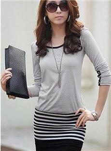 Split Joint Long Sleeve Stripe Dress