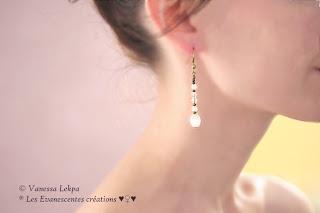 bijoux poétique perles blanche boucles d'oreille féminine
