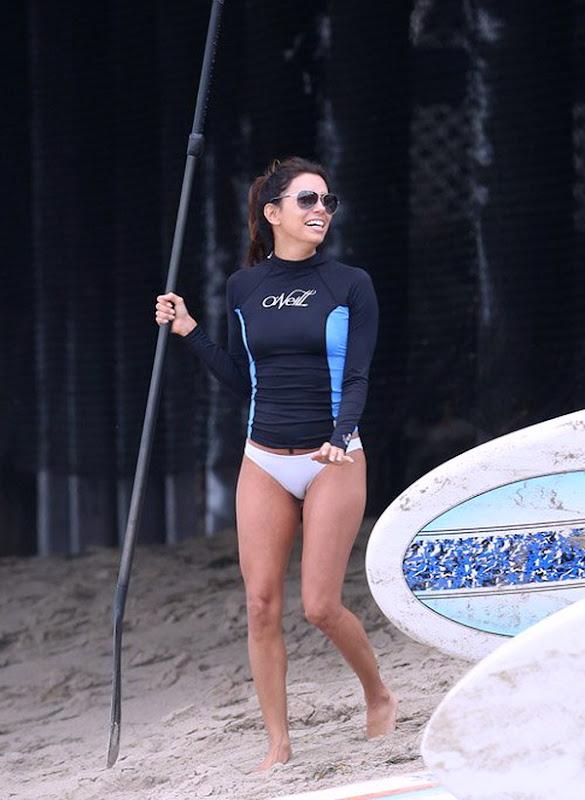 Eva Longoria wearing white  Bikini Bottoms