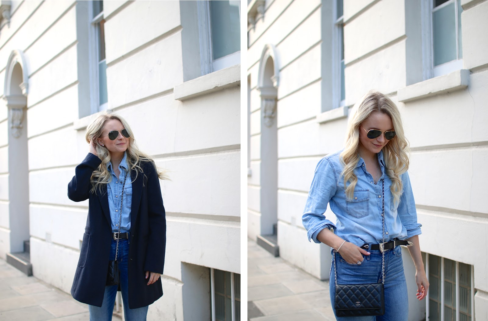 chanel wallet on chain, blonde women walking through London in an stylish all denim outfit