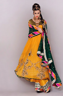 Green And Yellow Mehndi Dress Pics