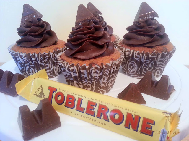 Toblerone cupcakes topped with chocolate ganache