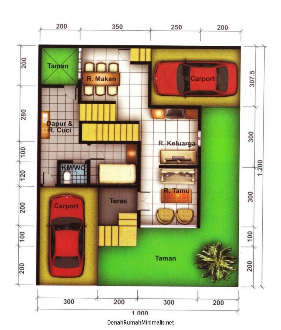 rancangan denah rumah hook 1 lantai kreatif