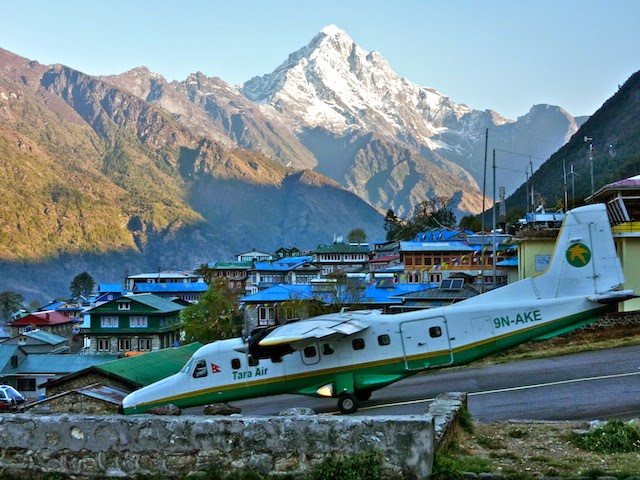 A flight taking off on Tenzing-Hillary Airport EBC Trek