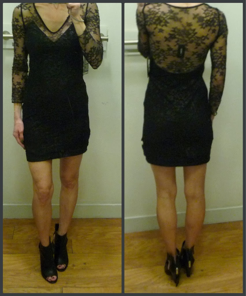 Express plunging v neck metallic lace dress, review