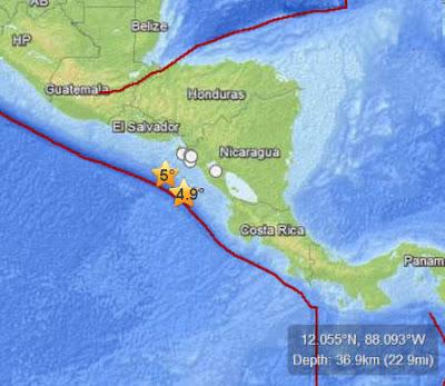Epicentro sismos costa del Pacífico de Nicaragua, 10 de Agosto 2012
