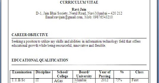 Resume Format For Fresher Free Download Icai Resume Format For