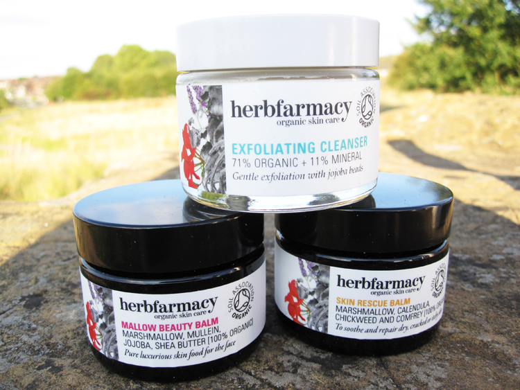 A picture of Herbfarmacy Skincare Review - Exfoliating Cleanser, Skin Rescue Balm, Mallow Beauty Balm, Whole Body Lotion and Nail & Cuticle Oil