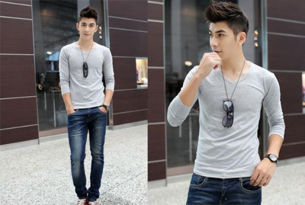 cách phối quần jean với áo thun nam