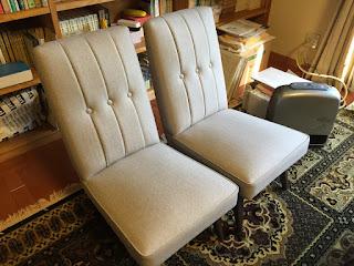 ウールのヘリンボーンで椅子の張り替え