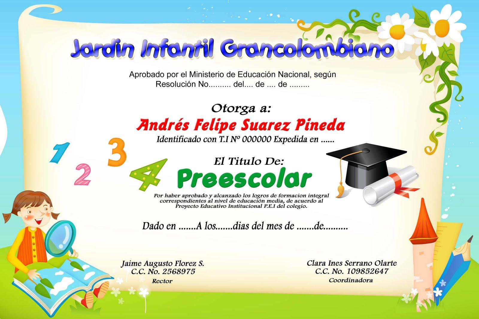Certificados De Prescolar | www.imagenesmy.com