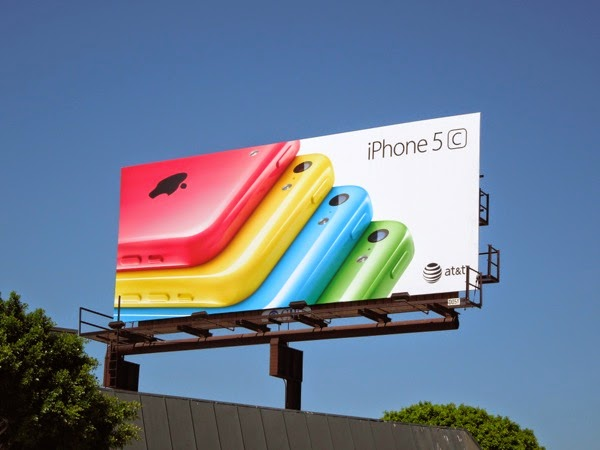 iPhone 5c colour fan effect on white background billboard