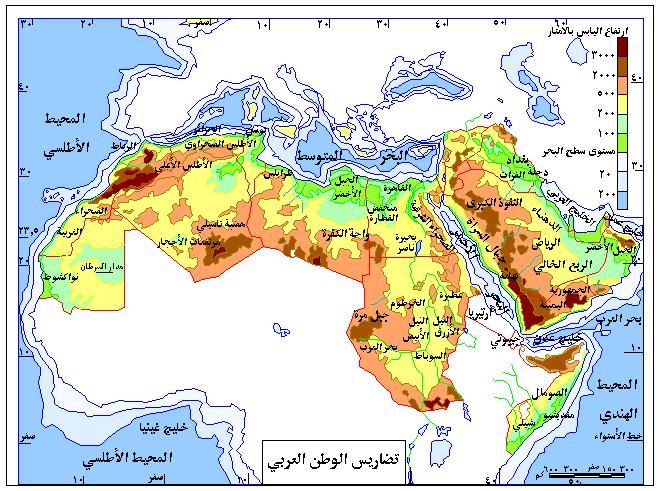 خريطة تضاريس الوطن العربى