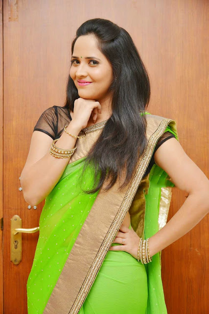 Anasuya looks lovely in Gree saree at Lion Movie Audio Launch