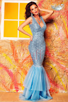 Rochie eleganta stil sirena albastra paiete si tul (Atmosphere)