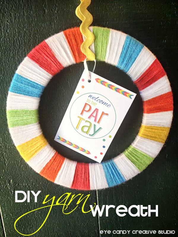 yarn wrapped wreath, how to make a yarn wreath, rainbow party decor