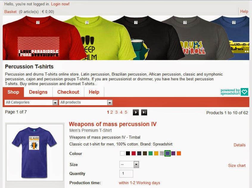 Tienda online de camisetas de percusión y batería