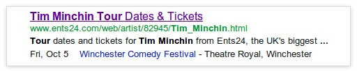 Single event rich snippet in Google search results
