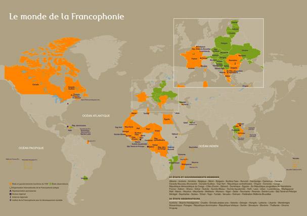 Mapa de los países francófonos