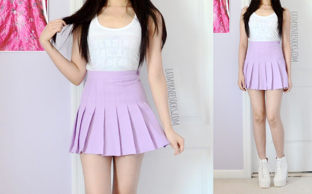 Modeled outfit photos of this pastel grunge-inspired OOTD, featuring the custom-print pastel tank top from Snapmade and an American Apparel dupe lilac/purple tennis skirt from Miuxin.