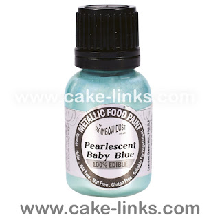 Pearlescent Baby Blue Edible Paint for cake decorating