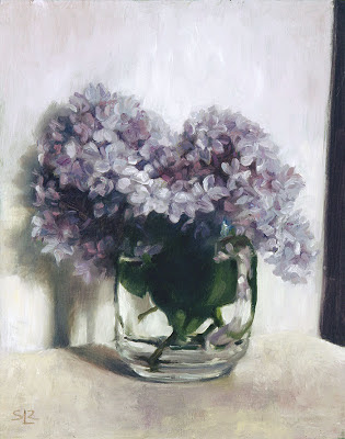 "Lilacs in a glass cup, oil on panel, 8""x10"", by Shannon Reynolds"