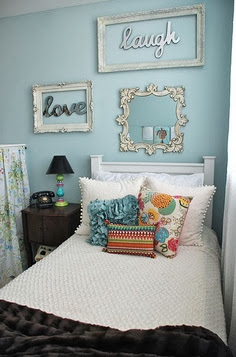 romantic bedroom with floral print and word pictures