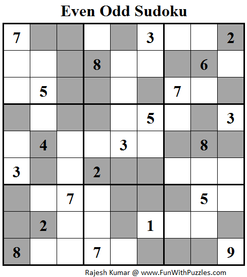 Even Odd Sudoku (Fun With Sudoku #92)