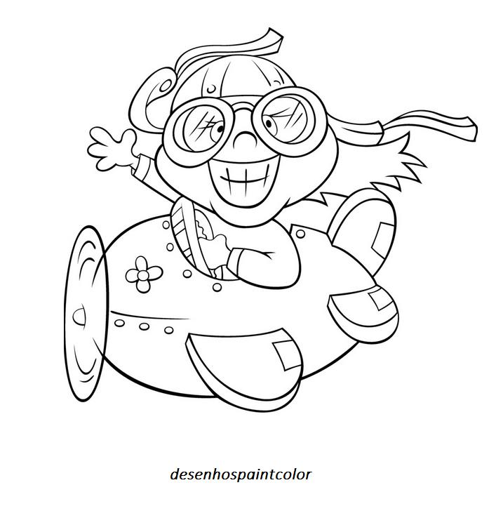 colorindo com a dry desenho de piloto no aviÃo para imprimir e